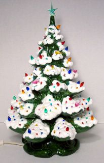 Ceramic Christmas TREE light ornaments Atlantic mold 2 piece with snow