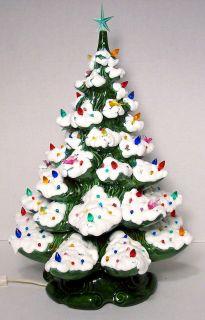 Ceramic Christmas TREE light ornaments Atlantic mold 2 piece with snow