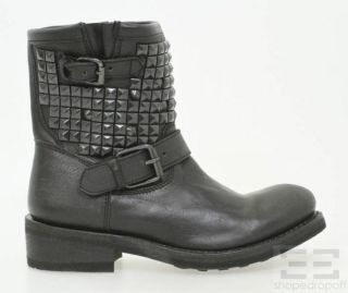 Ash Black Leather Studded Titan Ankle Boots Size 38 New