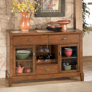 ASHLEY TUCKER MEDIUM BROWN WOOD SERVER DINING ROOM CABINET   FREE