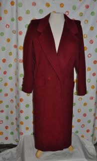 Ashley Scott Chic Wool Long Red Coat Womens Medium Vintage 1980s USA