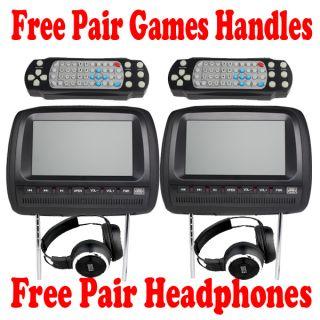 Black 9 Dual Screen Car Headrest DVD Player Monitor Wireless