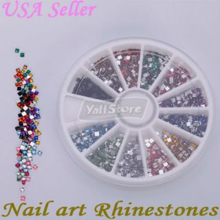1800 Pcs 2 0mm Square Shape Nail Art Rhinestones Glitters Wheel
