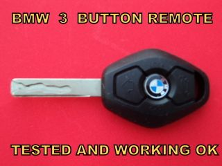 BMW 3 BUTTON CAR REMOTE CONTROL ALARM KEY FOB TESTED WORKING 1 3 5 6 7
