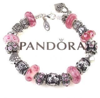Authentic Pandora Bracelet Pink Murano Bead Live Love Laugh Joy Words