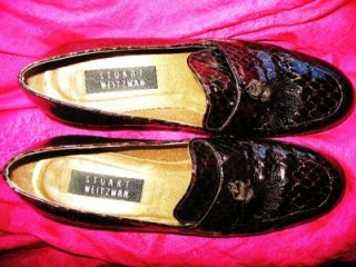 Stuart Weitzman Shoes Brown Croc Loafers w Tassels s 7W 37 Made in