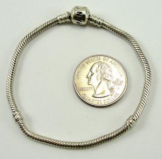 Authentic Pandora Sterling Silver Bracelet Snake Chain Pandora Clasp 7