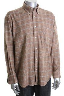 John Ashford New Brown Flannel Long Sleeve Glen Plaid Button Down
