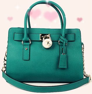 NEW 2012 Auth MICHAEL KORS Hamilton Satchel Saffiano Leather Aqua Blue