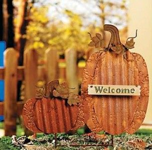Pumpkins Welcome Metal Yard Stake Outdoor Fall Decoration New