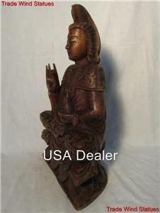 WOOD SITTING KWAN YIN GARDEN BUDDHA STATUE RARE CHINESE FENG SHUI ART