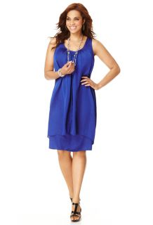 Avenue Plus Size Pleat Front Double Layer Dress