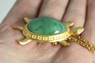 Vintage Avon SEA TURTLE Pin Pendant Green Acrylic Center Limited 1992