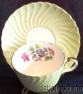 Aynsley Teacup Saucer HPT Spring Floral and Tulips Inside Pastel Green