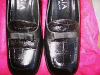 Krizia Milano Shoes Black Loafers Leather Crocks w Bow s 5 5M 35 5