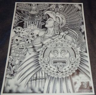 Aztec Warrior Chicano Tattoo Prison Art Flash Lowrider 11 w x 14 L