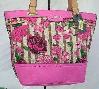 Guess Pink Azura Floral Tote Bag Shoulder Purse WOW RARE