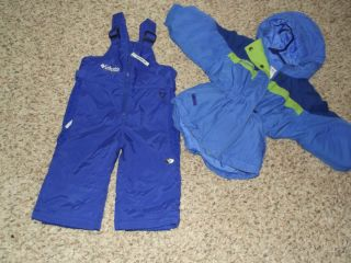 LOT Columbia SET snowpants pants jacket girls size 2t 2 3 winter blue