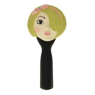 Hand Mirror Awake Face Blonde Pink Headband Makeup
