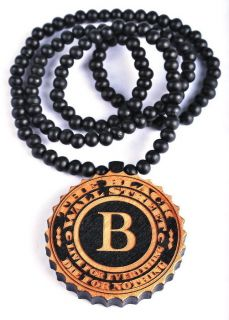 1str Black Round Letter B WALL STREET Wood Pendant Beaded Necklace