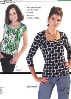 Jalie Sweetheart Top w Cap or 3 4 Sleeve 27 Sizes Miss Girl Sewing