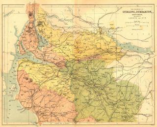 SCOTLAND Stirling, Dumbarton, Renfrew, Ayr Virtue, 1860 map