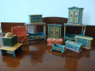 Piece Dora Kuhn Folk Art Tole Painted West Germany Dollhouse Furniture
