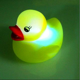 Baby Bath Fun Multi Color LED Flashing Duck Toy Rubber
