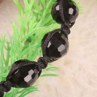 New Black String Crystal Glass Bead Adjustable Bracelet