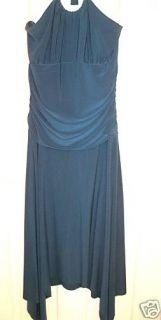 Darlin Blue Halter Crystal Occasion Prom Dress Sz 6