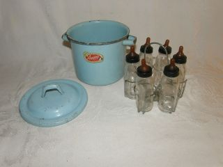 Childs AMSCO TOYS Enamel Ware Pot w 6 EVENFLO Baby Bottle Sterilizer A