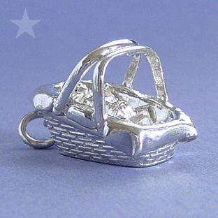 Baby Basket Carry Cot Bed Sterling Silver Charm Pendant