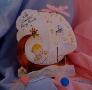 Handmade Greeting Card New Baby Girl Vintage