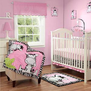Baby Boom I Luv Pink Zebra 3 Piece Crib Bedding Set