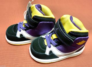 New Baby Toddler Boys Nike Air Jordan High Tops Size 4C US Lakers