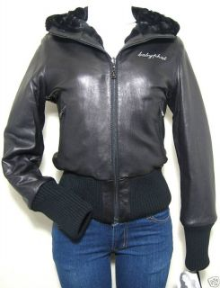 BABY PHAT REVERSIBLE LEATHER JACKET COAT, BLACK, MEDIUM