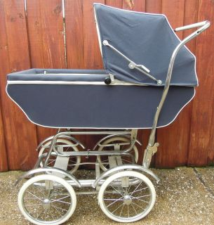 Antique Vintage Baby Stroller Carriage Pram Chrome Fenders Navy Blue