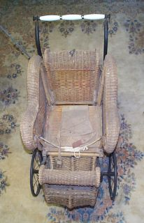 Antique Wicker Victorian Baby Carriage w Parasol