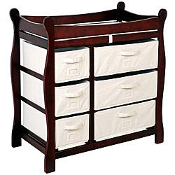 Baby Diaper Changing Wood Table w/ 6 Drawer Baskets Safety Rail Fast