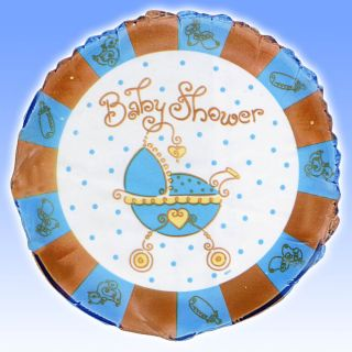 18 Blue Boy Baby Shower Joy Round Foil Party Balloon