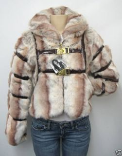Authentic Baby Phat Fur Jacket Coat Natural Med N w T