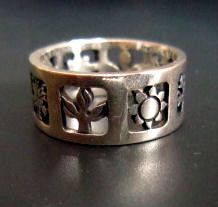 JAMES AVERY STERLING SILVER FOUR SEASONS OPEN ETCHED DESIGN BAND RING