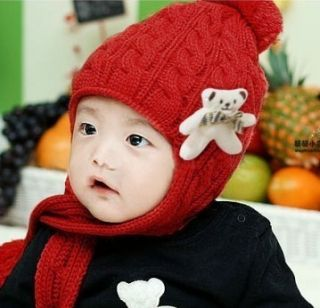 Ear Flap Hat Beanie Cap Winter Baby Kid Ski Scarf 11