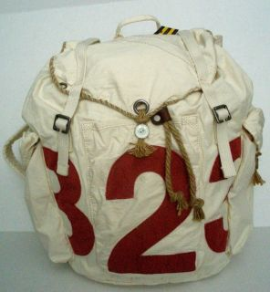 New Ralph Lauren Polo Rugby Canvas Tote Back Pack x Large Cream $168