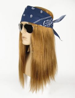 Heavy Metal AXL Rose Glam Guns N Roses Wig Sunglasses Costume