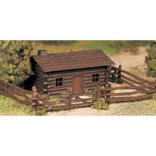 Bachmann 45982 O Scale Plasticville Log Cabin with Fence Snap Kit New