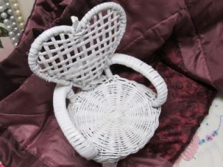 White Heart Shaped Back Wicker Chair Decor Shabby Cottage Chic Garden