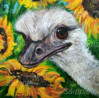 Sunflower Painting Wildlife Zoo Big Bird Kasheta Tkasheta Art
