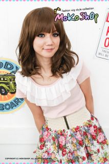 Moko Japan Cosplay Ayumi Light Brown Short Curly Wig