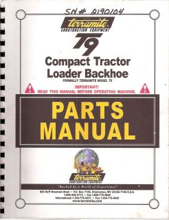 Terramite T9 Compact Tractor Loader Backhoe Parts Manual